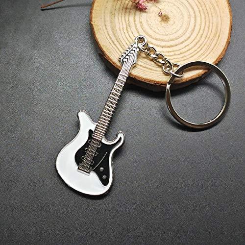 HCBZVN Llavero Nuevo Llavero De Guitarra De Metal Clásico para Hombre, Llavero con Instrumentos Musicales para Hombre, Bonito Llavero De Coche para Mujer, Colgante, Regalo, Joyería-Blanco