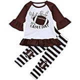 Little Girl Football Clothes Ruffles Dress Tops Striped Long Pant Outfits Set (Brown, 2-3 Years)
