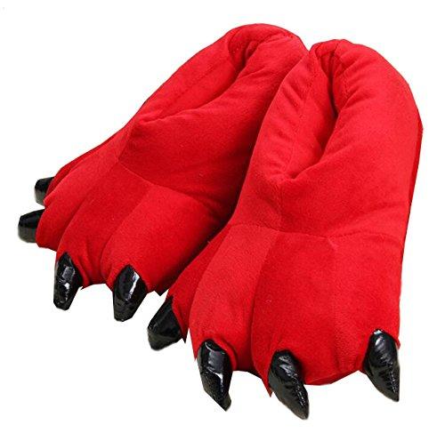 LANFIRE Unisex Soft Plüsch Haus Hausschuhe Tier Kostüm Pfote Claw Schuhe, Rot, S (Kind / Größe: 28-34)