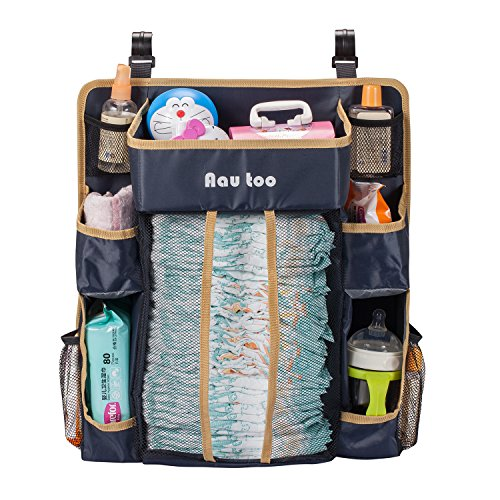 Aautoo Large Nursery Hanging Organizer Diaper Caddy For Diapers, Wipes, Creams, Small Toys and Other Baby Essentials,4 Velcro Straps 10 Pockets Solid Shelves Waterproof Material