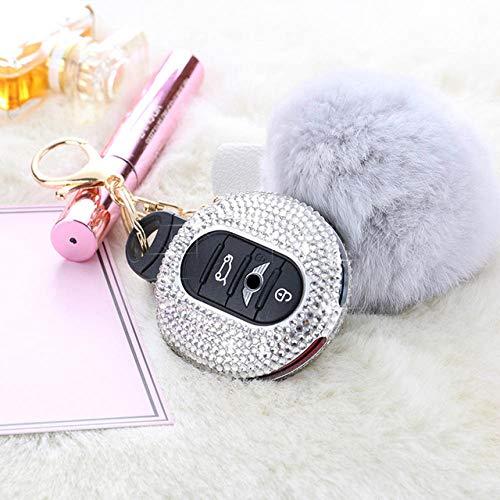 YJLOVK Diamond Crystal Plush Ball Car Key Fob Cap Case Cover Protector de decoración para Mini Copper F55 F54 F56 F60 Accesorios Mujeres Regalos, Blanco