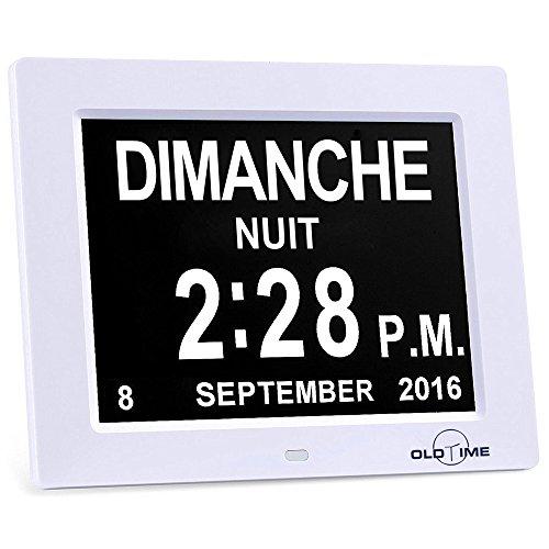 FEELLE Nuova Versione Calendario Sveglia Digitale Orologio da Tavolo Digitale con Extra Large Non Abbreviato- Day & Month.(8 Lingue, Bianca)