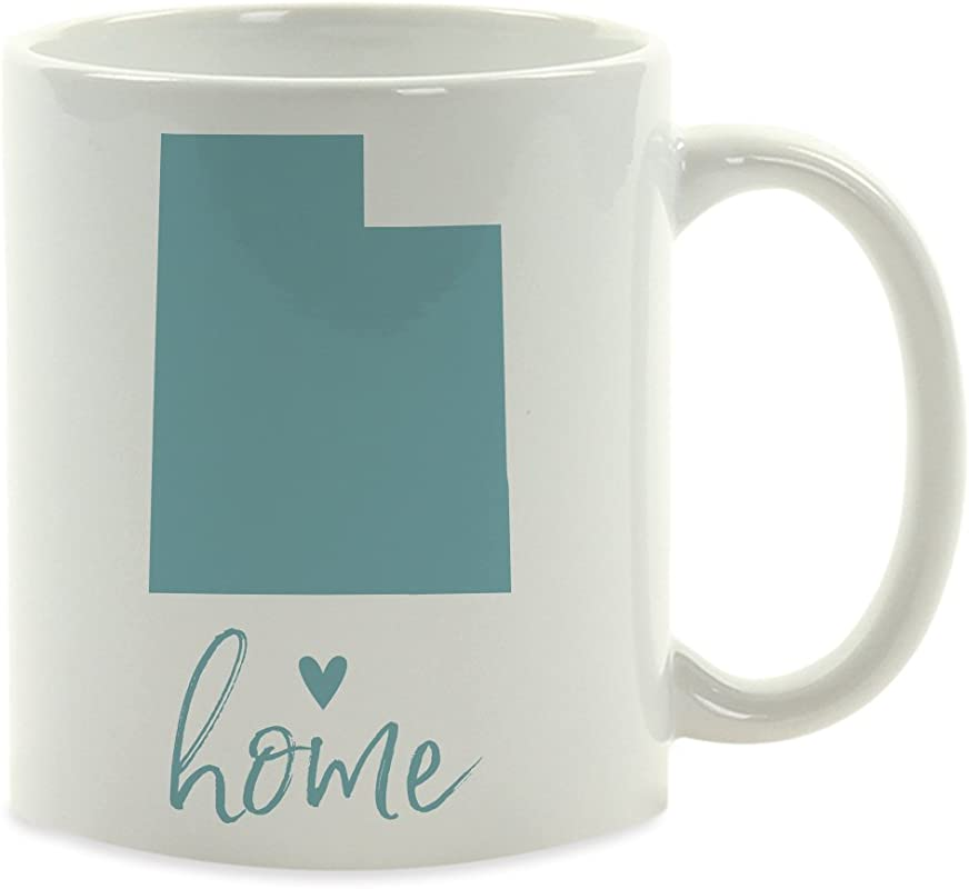 Andaz Press 11oz US State Coffee Mug Gift Aqua Home Heart Utah 1 Pack Unique Hostess Distance Moving Away Christmas Birthday Gifts For Her