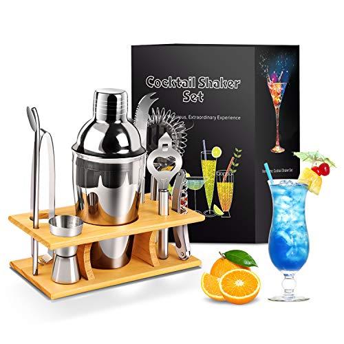 PowCube Cocktail-Shaker-Set-Edelstahl,9-teiliges Cocktail Shaker Set 550ML Bar Zubehör Cocktail Zubehör mit Holzständer