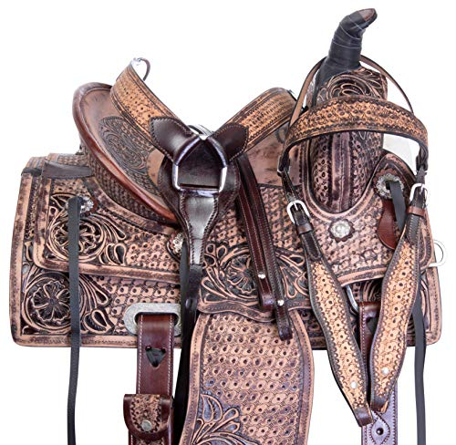 "Acerugs 10"" 12"" 13"" 14' Premium Ranch Roping Youth Kids Western Leather Horse Saddle TACK Set Children (14)"