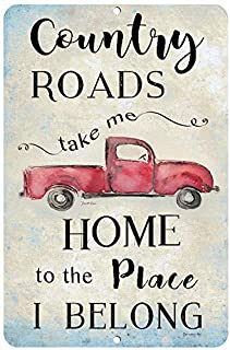 Dyenamic Art Country Roads Metal Sign Red Pickup Truck 8×12 Farmhouse Sign..