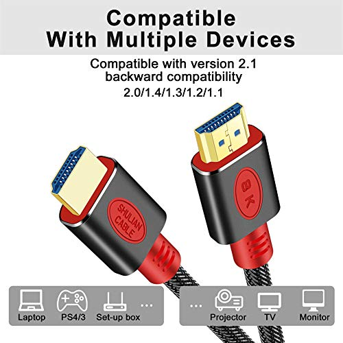 SHULIANCABLE 8K HDMI Kabel, HDMI 2.1 Kabel 48 Gbps 8K@60Hz,4K@120Hz,mit DSC Highspeed Ethernet, für Monitor, Projektor, Blu Ray PS4 Xbox (1M)