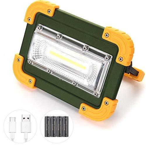 Elekin Lampada LED Esterni 30W, 1000LM Lampada da Lavoro a LED Ricaricabile a Tenuta stagna Impermeabile, 4 modalità Regolabili (Compresa Batteria 4 x 18650) [Classe di efficienza energetica A]