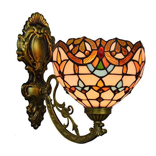 BINGFANG-W dormitorio Lámpara de pared Decoración británica del vitral moderno Espejo barroco Faro de noche la lámpara de pared del pasillo flor de Sun de una sola cabeza de cristal lámpara de pared L