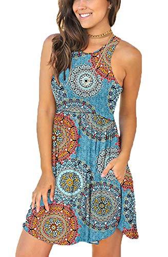 YUNDAI Women's Short Sleeve Casual Loose Plain Dresses Short Dress with Pockets XL Mix Blue