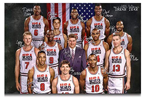 Qylfsxb 1992 USA Dream Team Magic Johnson Signature Classic Poster Picture HD Prints On Canvas Bedroom Decoration Gift-60x90cm No Frame