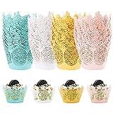 80 piezas Envoltorios para magdalenas, Envoltorios de papel para cupcakes de filigrana cupcakes decoración de tartas para bodas, suministros para fiestas de cumpleaños (4 colores)