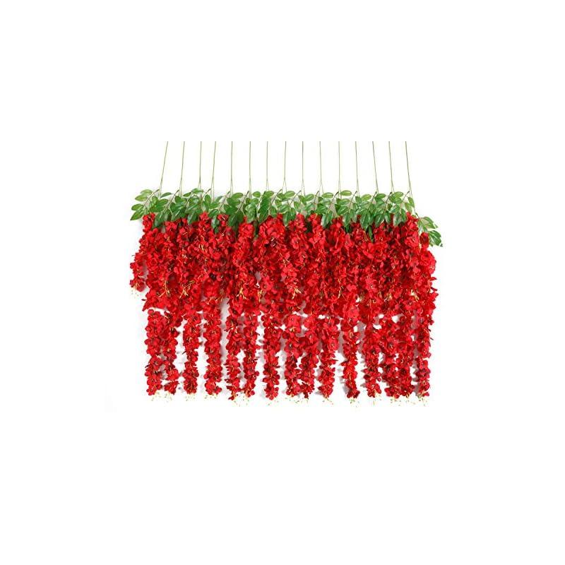 silk flower arrangements huata 10pcs 3.2 feet artificial flower wisteria vine ratta hanging wedding decor garlands(red)