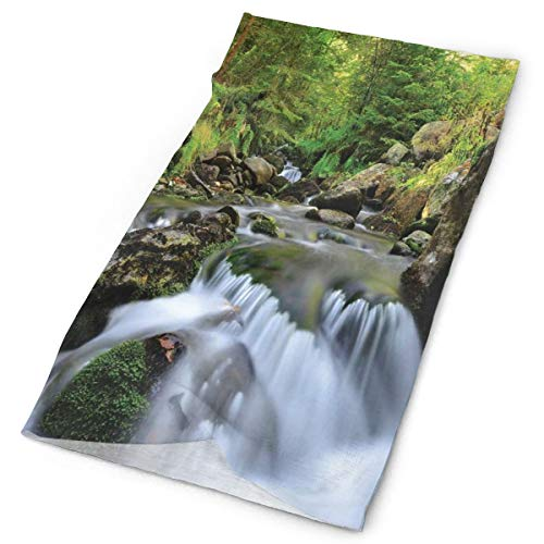 GUUi Headwear Headband Head Scarf Wrap Sweatband,National Park with Cascade Flowing Into The Woods Mother Earth Image,Sport Headscarves for Men Women