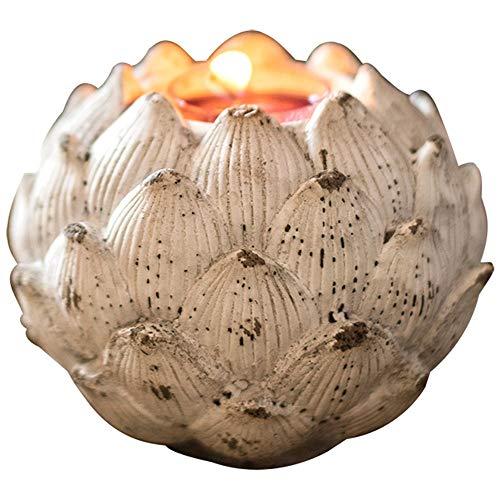 MICEROSHE Candelabro Popular Los titulares de la palmatoria Arte Lotus Asiento Retro del Escritorio de la decoración de la decoración del jardín Regalo Retro de la palmatoria CREA una Atmósfera