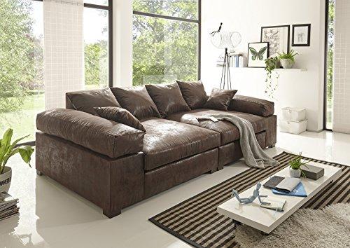 Reboz Big Sofa Vintage schwarz Hellbraun Dunkelbraun Megasofa (Vintage Dunkelbraun)