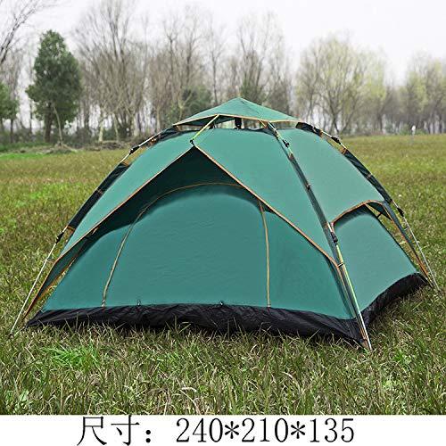 Zelt Outdoor Camp Vollautomatische Multi-person Doppeldecker Zelt Geschwindigkeit Offenen Strand Freizeitzelt Zelte und feuchtigkeitsbeständige Matten Doppeldecker-Dreier-Einsatz grün