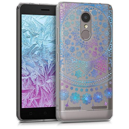 kwmobile Hülle kompatibel mit Lenovo K6 - Hülle Handy - Handyhülle - Arktische Schneeflocke Blau Pink Transparent
