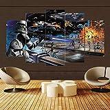 Hängende Leinwandmalerei Film Clone Troopers Angriffe Droid Poster 5 Stücke malerei HolzrahmenWand...