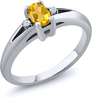 0.44 Ct 6x4mm Citrine & White Topaz Gemstone Birthstone Women's 3-Stone Sterling Silver Ring (Available 5,6,7,8,9)