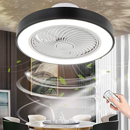 LED Ventilador De Techo Con Iluminación 80W Luz De Techo Invisible Con Ventilador Silencioso Velocidad Del Viento Ajustable Luz Del Fan Con Control Remoto Regulable Para Dormitorios De Niños (Black)