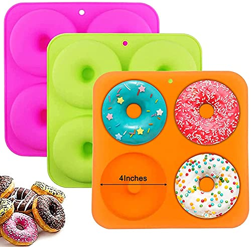 BAKHUK 3pcs Large Full Size Donut Pan 4Inches, Silicone Donut Molds for Baking, Non Stick Bagel Pan