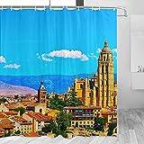 Spain Cathedral Segovia Cortina de Ducha Viaje Decoración de Baño Set Con Ganchos Poliéster 72x72inch (YL-05288)