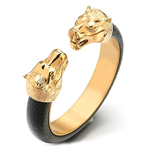 COOLSTEELANDBEYOND Mens Steel Gold Wolf Head Open Cuff Bangle Bracelet Inlaid with Black Leather, Elastic Adjustable