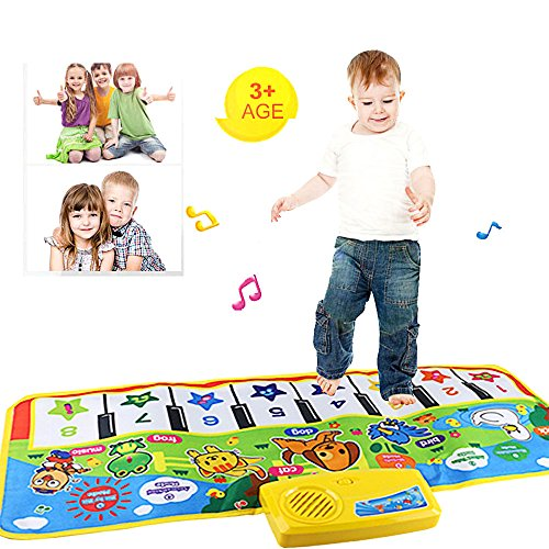 Voberry Music Carpet Mat, Hot Kids Baby 28.7 X 13.7in Piano Musical Touch Play Keyboard Musical Music Singing Gym Carpet Mat Toy Area Rug,Educational, Musical,Best Kids Baby Gift (As Shown)