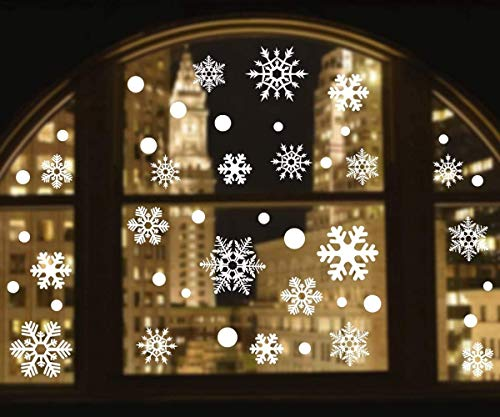 Alivonao 8 Sheets 258 Pcs Christmas Window Clings, Large Snowflake Window Stickers, Christmas Window Descoration for Stores, Houses, Offices, Schools