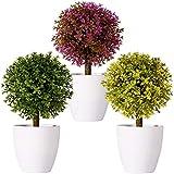 FagusHome 20cm Alto Plantas Artificiales en Maceta 3 Piezas árbol en Forma de Bola en Maceta boj...