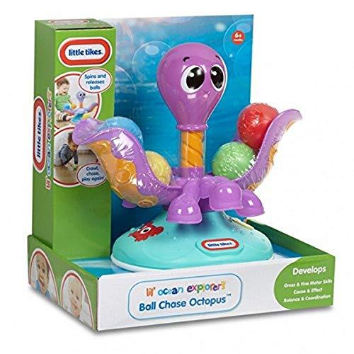 Little Tikes Lil' Ocean Explorers Pieuvre à balles – Dotée de 4 balles & grandes tentacules – Encourage les facultés motrices, la coordination & la confiance, pour les enfants de 6 mois à 3 ans