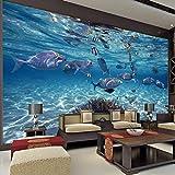 Murales Fotomurales Acuario Azul Papel Pintado No Tejido 3D Papel De Pared Dormitorios Salón Hotel Fondo De Tv Elegante Moderno Fine Decor Murales 350 X 250 Cm