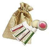5 Piece Set - Natural Travel Size Solid Perfume with Free Burlap Bag - Phthalate Free - Rose Garden, Gardenia, Patchouli Oud Wood, Lilac, Rose Garden Tin Jar