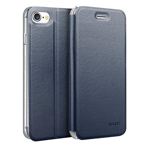 doupi Flip Hülle für iPhone SE (2020) / iPhone 8/7 (4,7 Zoll), Deluxe Schutz Hülle mit Magnetischem Verschluss Cover Klappbar Book Style Handyhülle Aufstellbar Ständer, blau