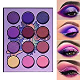 DE'LANCI Purple Eyeshadow Palette-Hawaii Blueberry Matte and Shimmer 12 Colors,Ultra Pigmented Professional Electric Purple Mini Makeup Pallet, Blendable Vibrant Duo Chrome Violet Eye Shadow Palettes