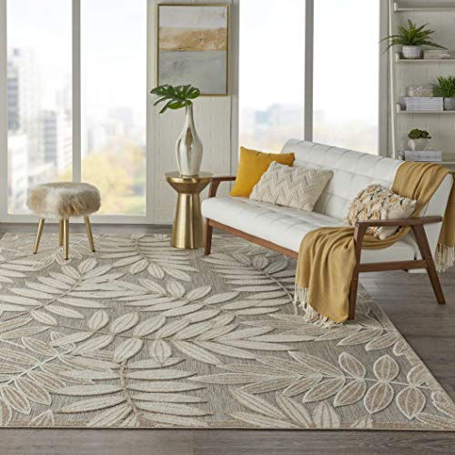 Nourison Aloha Indoor/Outdoor Floral Natural 7'10' x 10'6' Area Rug (8' x 11'), 7'10'X10'6',