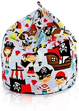 Italpouf Pouf Poire L pour Enfants Pirates 77 x 90cm 230l Rembourrage en Billes de polystyrene Indoor Beanbag Chaise de Sol