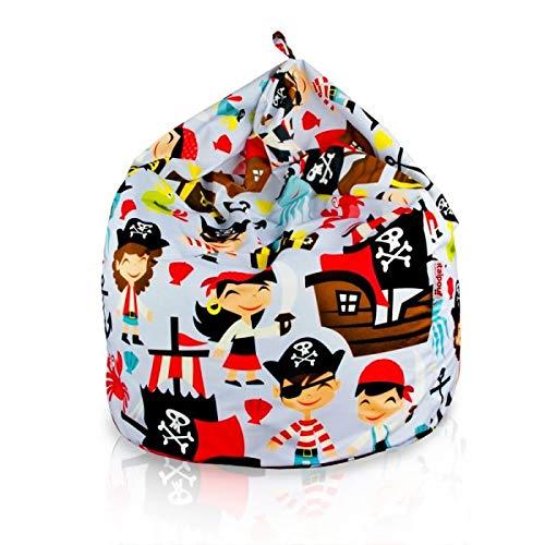 Italpouf Sitzsack Riesensitzsack L für Kinder Piraten 77 x 90cm 230l Füllung Indoor Beanbag Kindersitzsack