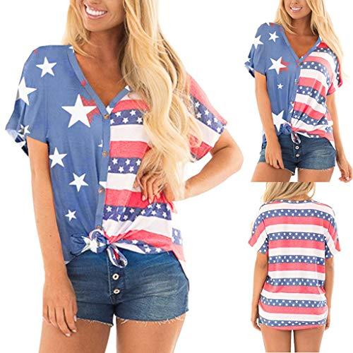 Janly Clearance Sale - Camiseta de manga corta para mujer, diseño de rayas patrióticas con bandera americana...