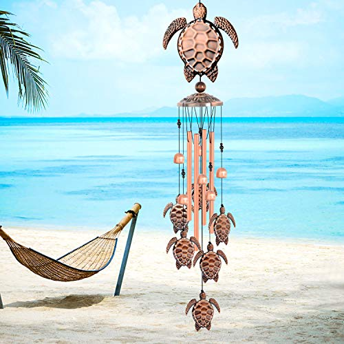 Tortoise Wind Chimes Sea Turtles Wind Chime for Outside Copper Large Wind Bells Wind Catcher Retro Garden Decoration Mom Birthday Gift Outdoor Indoor Decor Large deep Tone Turtles Music Wind Chimes