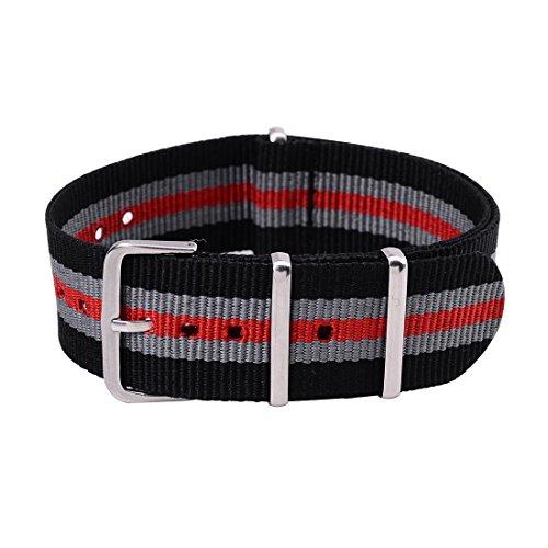 18mm Cinturino Regolabile in Tela Per Orologio Da Polso Da Ricambio Colore Nero Grigio Rosso