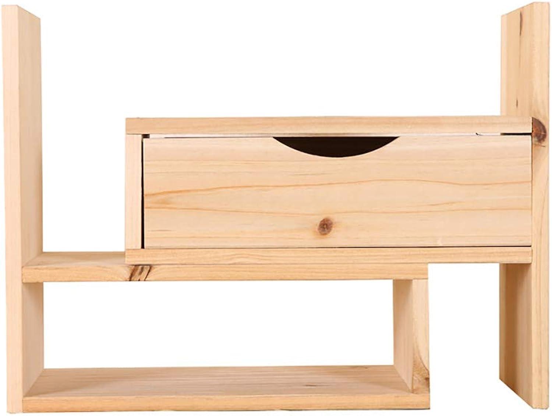 Hua Wooden Multi-Function Flower Stand, Creative Telescopic Shelf Drawer Office Desktop Storage Box Wooden Creative Stationery Rack (color   B)