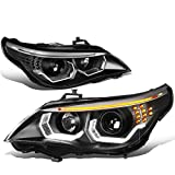 DNA Motoring HL-3D-E6003-BK Black Housing Crystal U-Halo Projector Headlights With LED Signal Bar For 04-07 5-Series