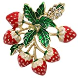 Yodio Strawberry Brooch Pins Jewelry for Woman Kids Holiday Xmas Party