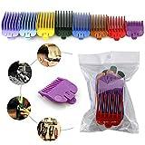GUYUE Ensemble de peignes de fixation de tondeuse à cheveux 8 pièces, ensemble de peignes de limite colorée pour tondeuses à cheveux/tondeuses universelles