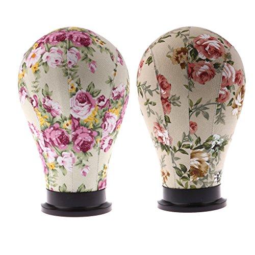 """Sharplace Lot 2pcs Tête de Mannequin Florale Tête de Bloc Modèle Support Stand de Perruque Bijoux Casquette Lunettes 24"""""""