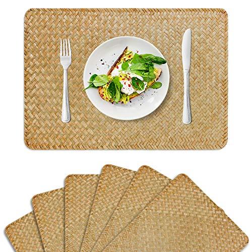 FEIANDUO - Juego de 6 manteles individuales rectangulares de ratán de 17.7 x 11.8 pulgadas, para mesa de comedor y cocina (original, 6 unidades)
