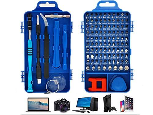 Manfâ Juego de Destornilladores, 110 en 1 Destornilladores Precisión controlador magnético Kit herramientas de profesional Para Reloj Smartphone, PC, Ordenador, macbook, iPad, Tableta (blue)