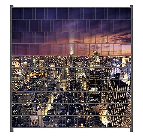 Wallario Zaun Sichtschutz Windschutz für Doppelstabmattenzäune in der Größe Breite 2,00m x Höhe 2,00m, Motiv: New York bei Nacht - Panoramablick über die Stadt